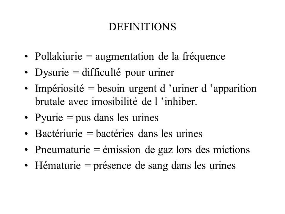 DEFINITIONS Pollakiurie = augmentation de la fréquence Dysurie = difficulté pour uriner Impériosité = besoin urgent d uriner d apparition brutale avec