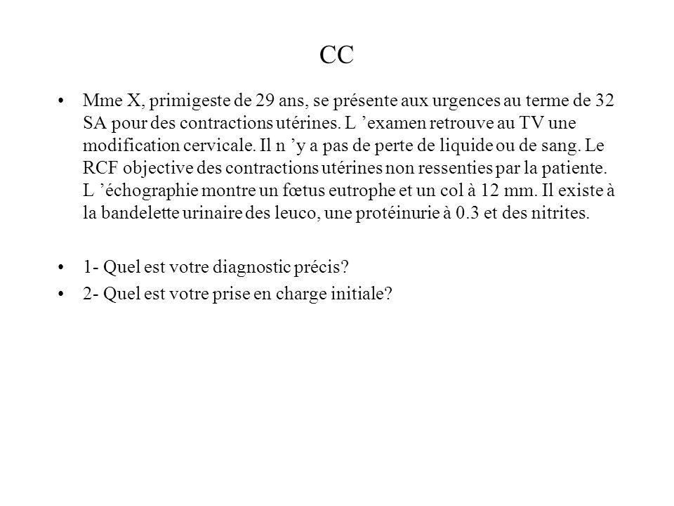 CC Mme X, primigeste de 29 ans, se présente aux urgences au terme de 32 SA pour des contractions utérines. L examen retrouve au TV une modification ce