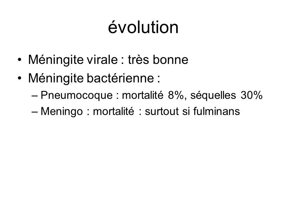évolution Méningite virale : très bonne Méningite bactérienne : –Pneumocoque : mortalité 8%, séquelles 30% –Meningo : mortalité : surtout si fulminans