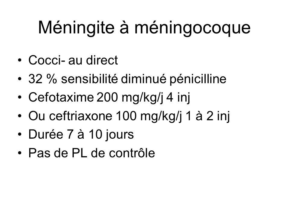 Méningite à méningocoque Cocci- au direct 32 % sensibilité diminué pénicilline Cefotaxime 200 mg/kg/j 4 inj Ou ceftriaxone 100 mg/kg/j 1 à 2 inj Durée