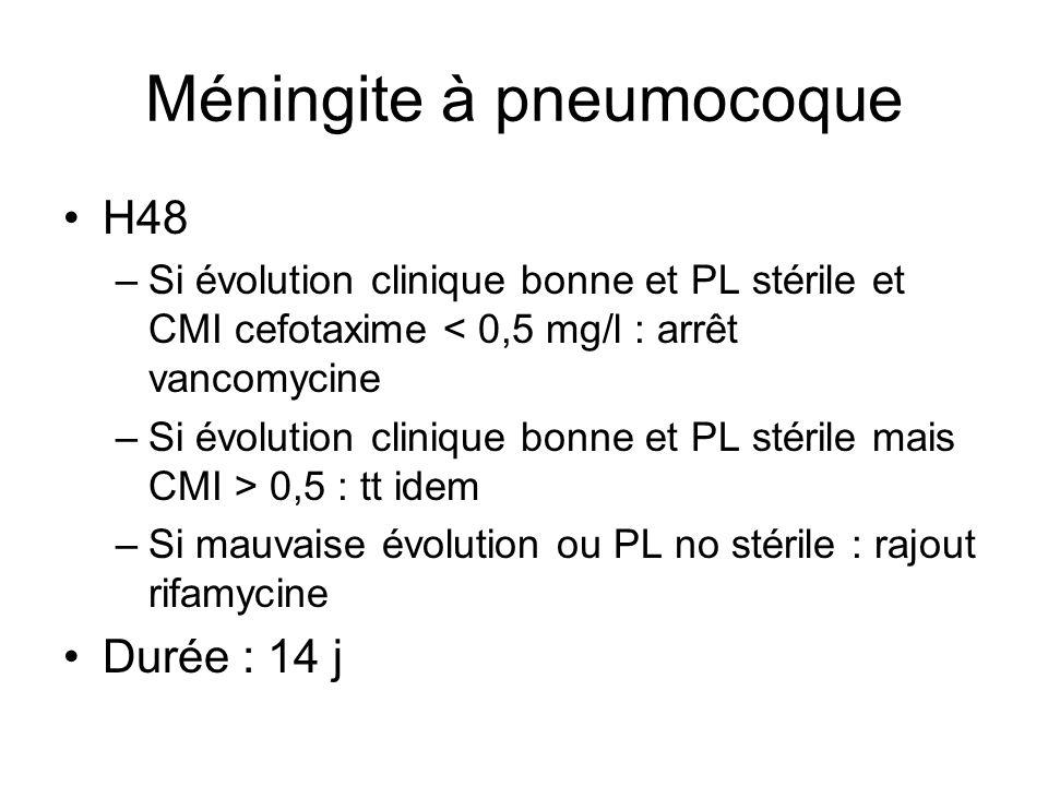 Méningite à pneumocoque H48 –Si évolution clinique bonne et PL stérile et CMI cefotaxime < 0,5 mg/l : arrêt vancomycine –Si évolution clinique bonne e