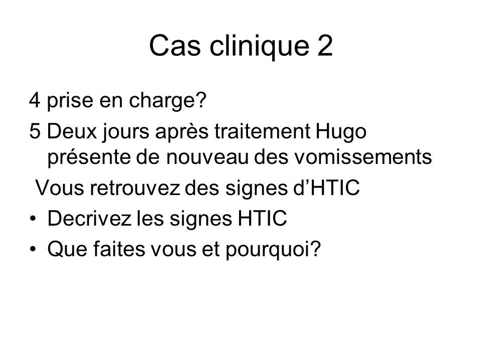 Cas clinique 2 4 prise en charge? 5 Deux jours après traitement Hugo présente de nouveau des vomissements Vous retrouvez des signes dHTIC Decrivez les