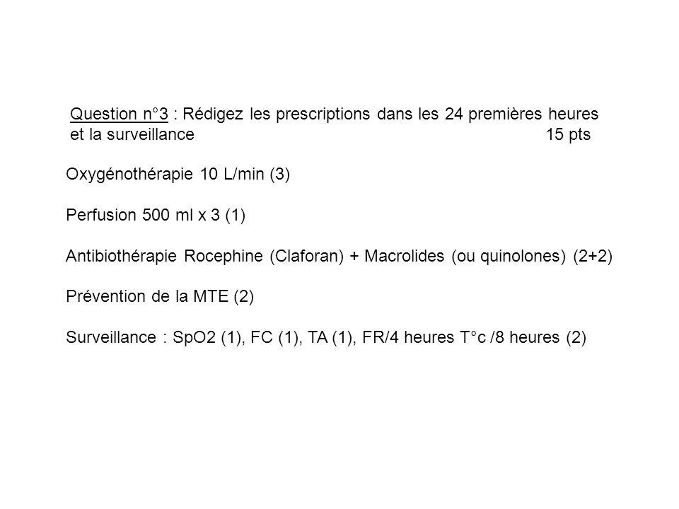Oxygénothérapie 10 L/min (3) Perfusion 500 ml x 3 (1) Antibiothérapie Rocephine (Claforan) + Macrolides (ou quinolones) (2+2) Prévention de la MTE (2)