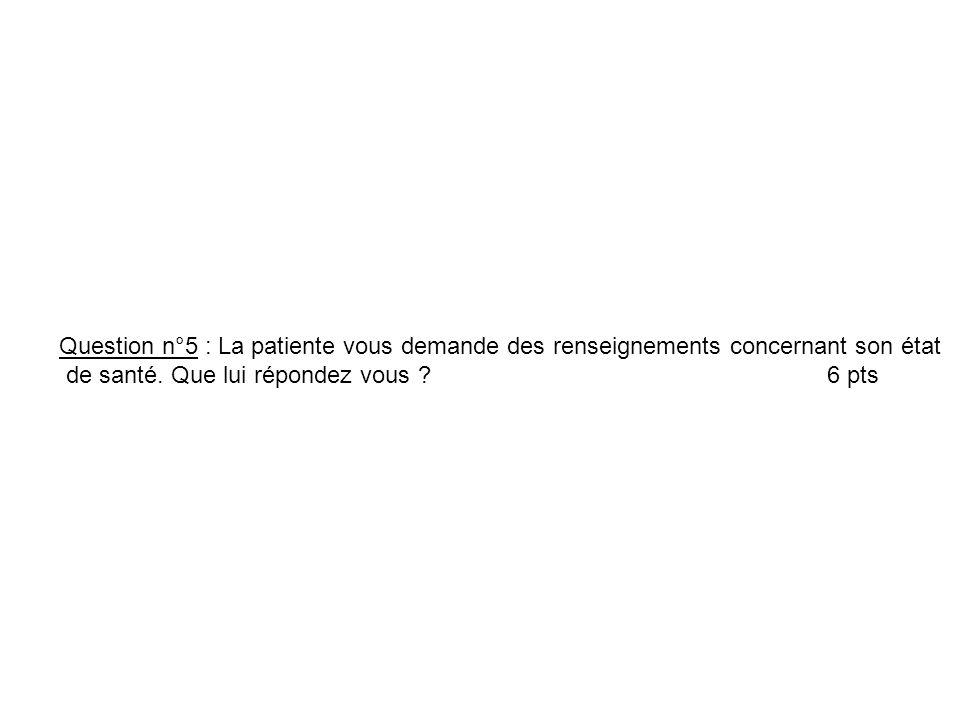 Question n°5 : La patiente vous demande des renseignements concernant son état de santé. Que lui répondez vous ? 6 pts
