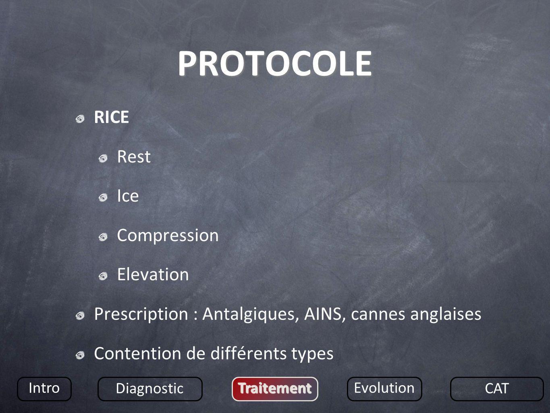 PROTOCOLE RICE Rest Ice Compression Elevation Prescription : Antalgiques, AINS, cannes anglaises Contention de différents types Intro Diagnostic Trait