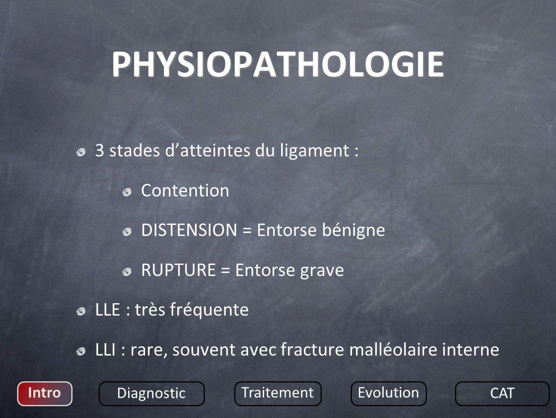 3 stades datteintes du ligament : Contention DISTENSION = Entorse bénigne RUPTURE = Entorse grave LLE : très fréquente LLI : rare, souvent avec fractu