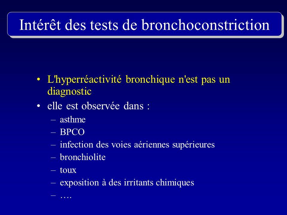 L'hyperréactivité bronchique n'est pas un diagnostic elle est observée dans : –asthme –BPCO –infection des voies aériennes supérieures –bronchiolite –
