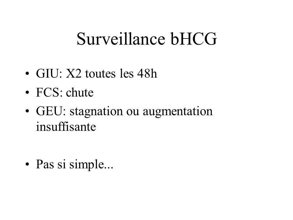 Examens complémentaires bHCG quantitatifs ( / 48h) Échographie pelvienne voie suspubienne puis endovaginale –signes directs –signes indirects Bilan pr