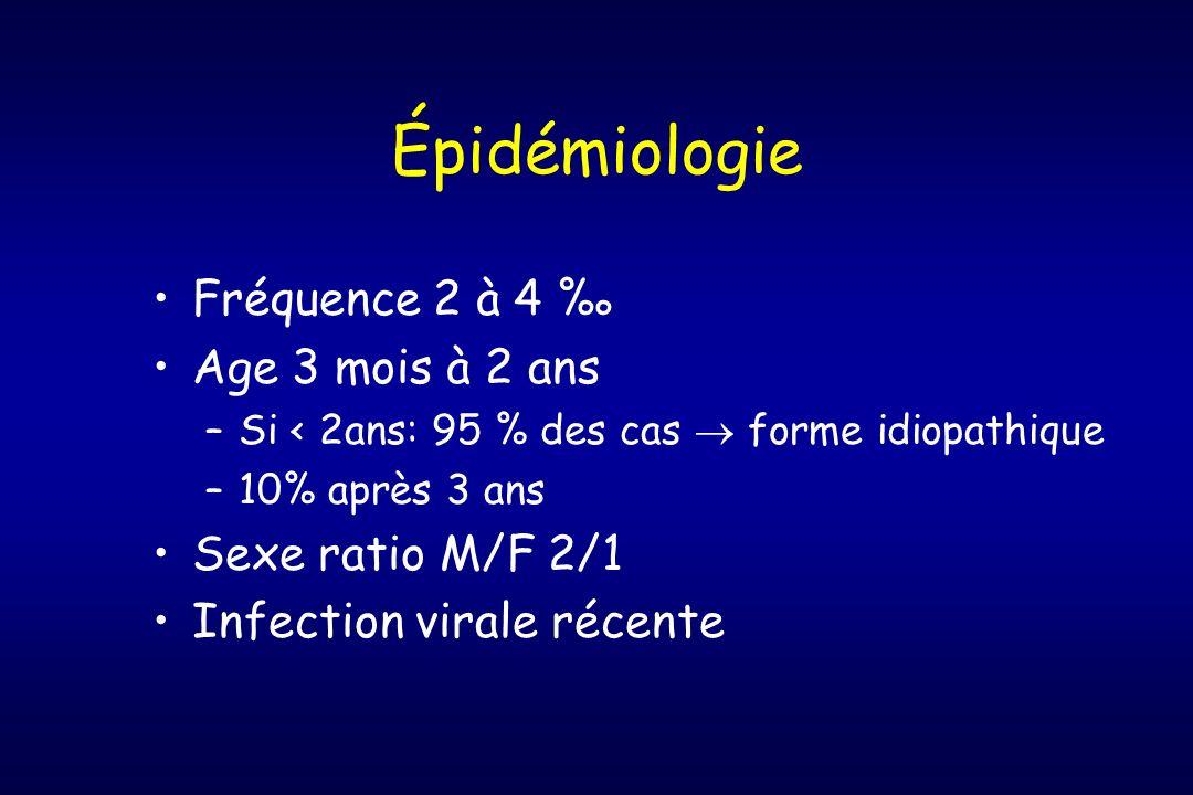 Épidémiologie Fréquence 2 à 4 Age 3 mois à 2 ans –Si < 2ans: 95 % des cas forme idiopathique –10% après 3 ans Sexe ratio M/F 2/1 Infection virale réce