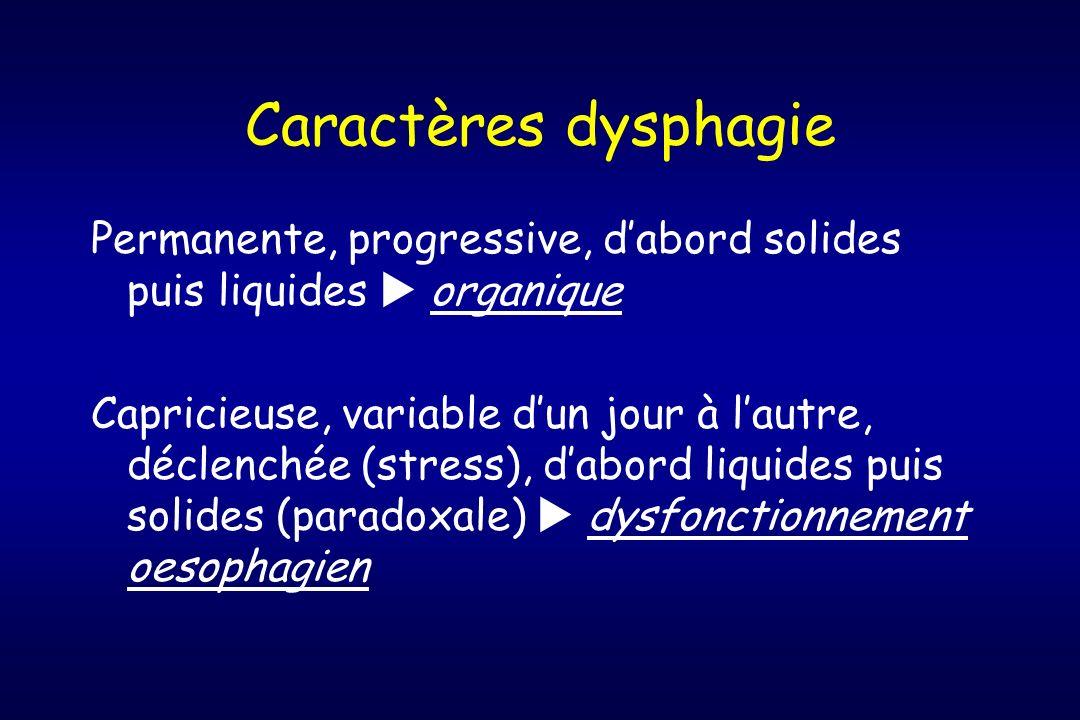 Caractères dysphagie Permanente, progressive, dabord solides puis liquides organique Capricieuse, variable dun jour à lautre, déclenchée (stress), dab