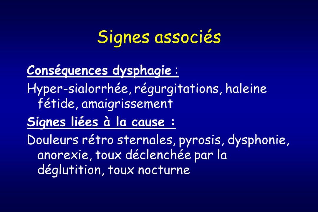 Signes associés Conséquences dysphagie : Hyper-sialorrhée, régurgitations, haleine fétide, amaigrissement Signes liées à la cause : Douleurs rétro ste