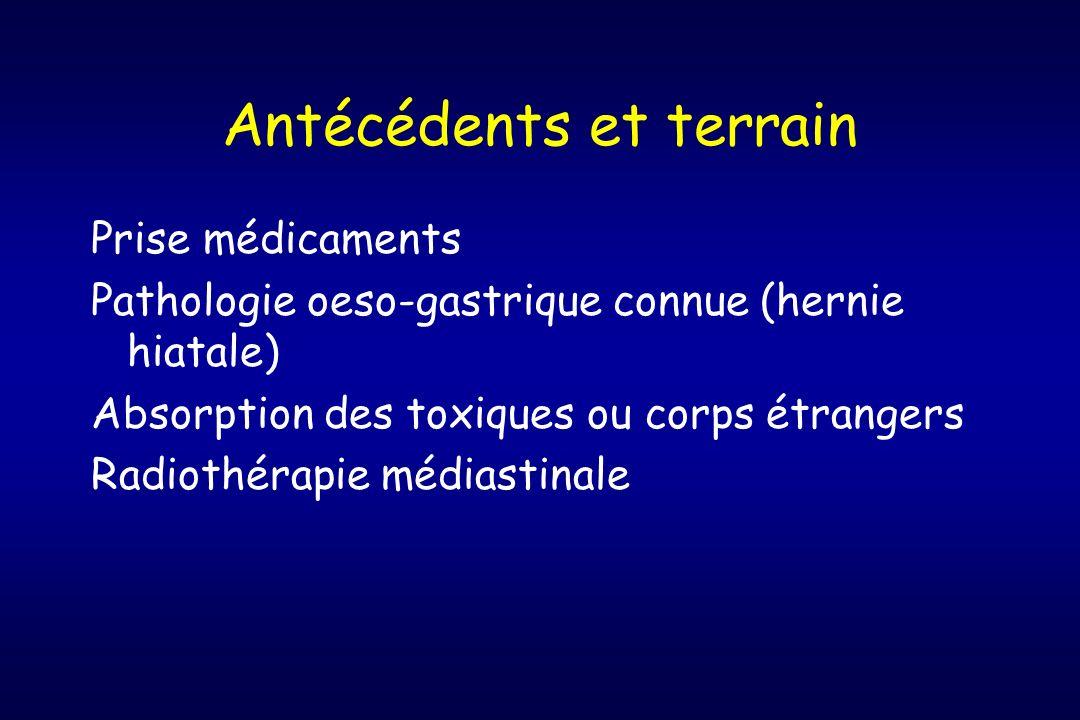 Antécédents et terrain Prise médicaments Pathologie oeso-gastrique connue (hernie hiatale) Absorption des toxiques ou corps étrangers Radiothérapie mé