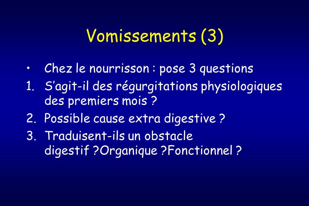 Vomissements (3) Chez le nourrisson : pose 3 questions 1.Sagit-il des régurgitations physiologiques des premiers mois ? 2.Possible cause extra digesti