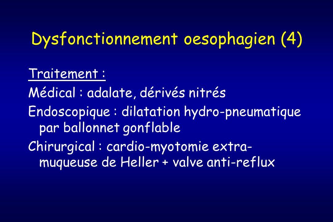 Dysfonctionnement oesophagien (4) Traitement : Médical : adalate, dérivés nitrés Endoscopique : dilatation hydro-pneumatique par ballonnet gonflable C