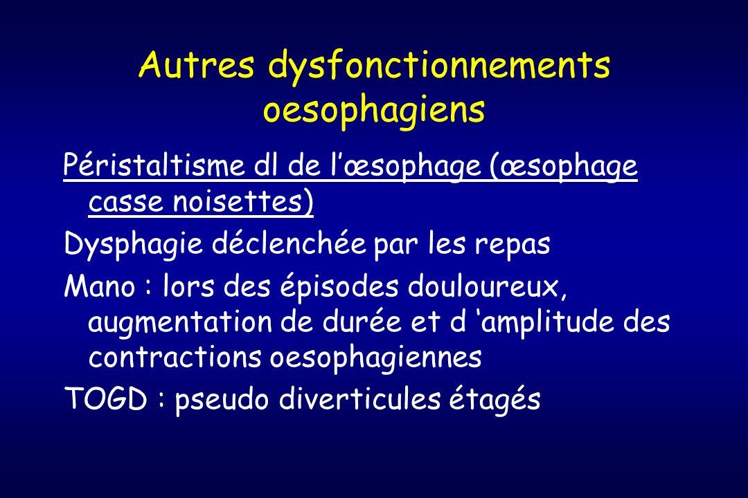 Autres dysfonctionnements oesophagiens Péristaltisme dl de lœsophage (œsophage casse noisettes) Dysphagie déclenchée par les repas Mano : lors des épi