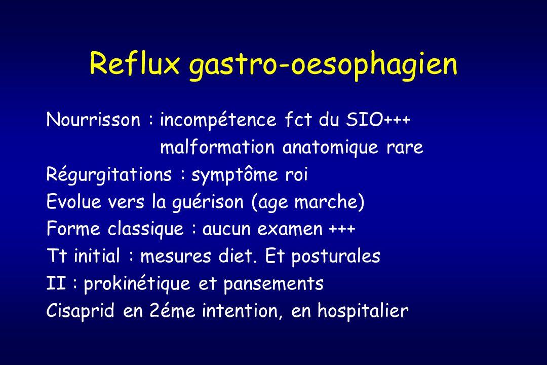 Reflux gastro-oesophagien Nourrisson : incompétence fct du SIO+++ malformation anatomique rare Régurgitations : symptôme roi Evolue vers la guérison (