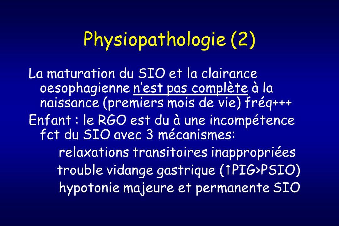 Physiopathologie (2) La maturation du SIO et la clairance oesophagienne nest pas complète à la naissance (premiers mois de vie) fréq+++ Enfant : le RG