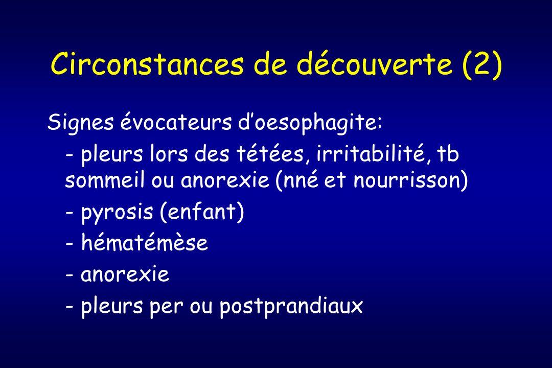 Circonstances de découverte (2) Signes évocateurs doesophagite: - pleurs lors des tétées, irritabilité, tb sommeil ou anorexie (nné et nourrisson) - p