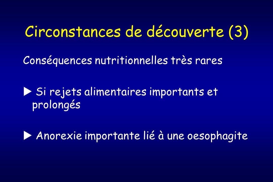 Circonstances de découverte (3) Conséquences nutritionnelles très rares Si rejets alimentaires importants et prolongés Anorexie importante lié à une o