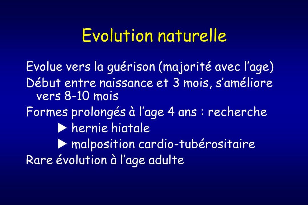 Evolution naturelle Evolue vers la guérison (majorité avec lage) Début entre naissance et 3 mois, saméliore vers 8-10 mois Formes prolongés à lage 4 a
