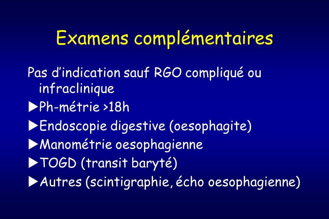 Examens complémentaires Pas dindication sauf RGO compliqué ou infraclinique Ph-métrie >18h Endoscopie digestive (oesophagite) Manométrie oesophagienne