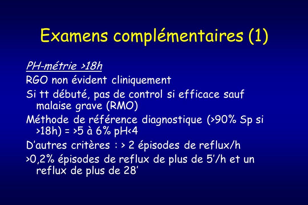 Examens complémentaires (1) PH-métrie >18h RGO non évident cliniquement Si tt débuté, pas de control si efficace sauf malaise grave (RMO) Méthode de r