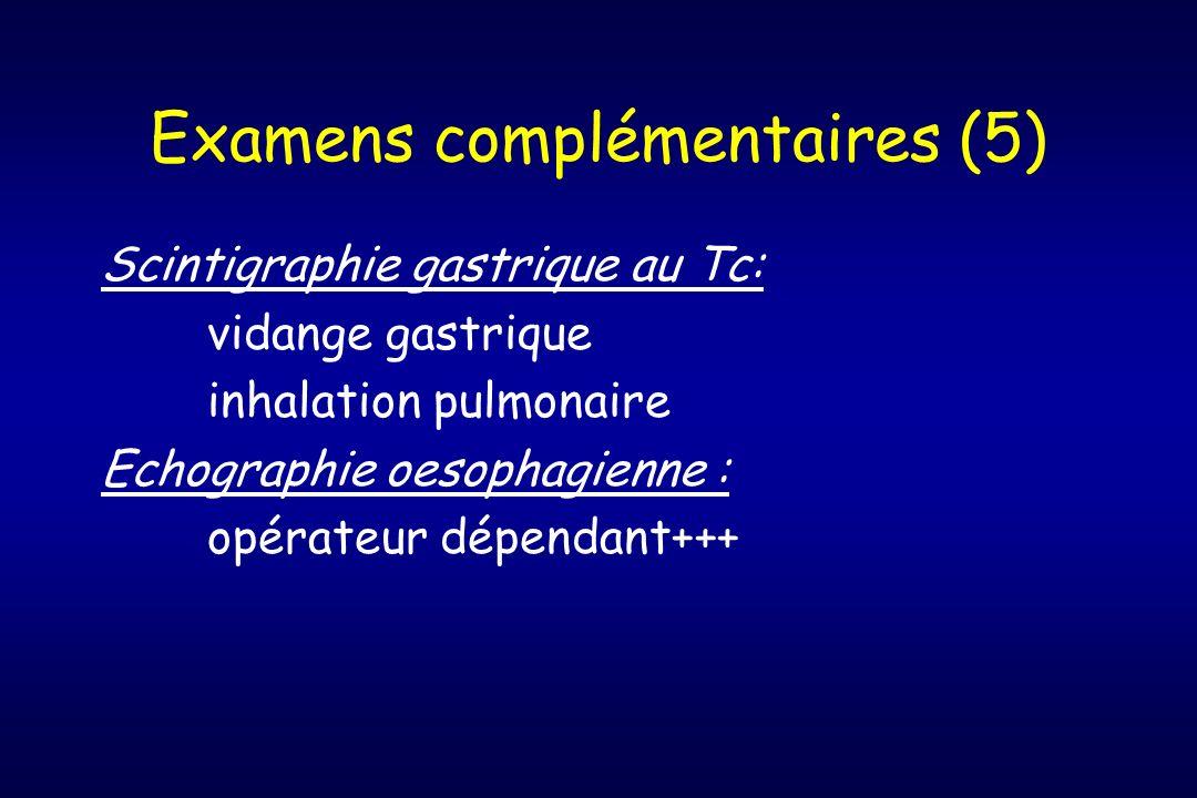Examens complémentaires (5) Scintigraphie gastrique au Tc: vidange gastrique inhalation pulmonaire Echographie oesophagienne : opérateur dépendant+++