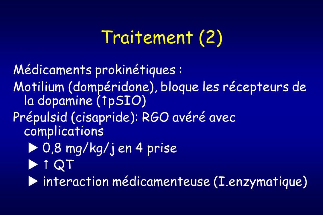Traitement (2) Médicaments prokinétiques : Motilium (dompéridone), bloque les récepteurs de la dopamine ( pSIO) Prépulsid (cisapride): RGO avéré avec