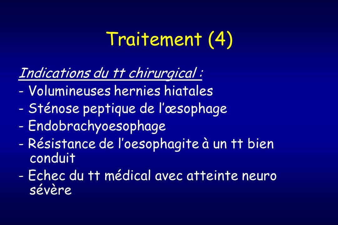 Traitement (4) Indications du tt chirurgical : - Volumineuses hernies hiatales - Sténose peptique de lœsophage - Endobrachyoesophage - Résistance de l