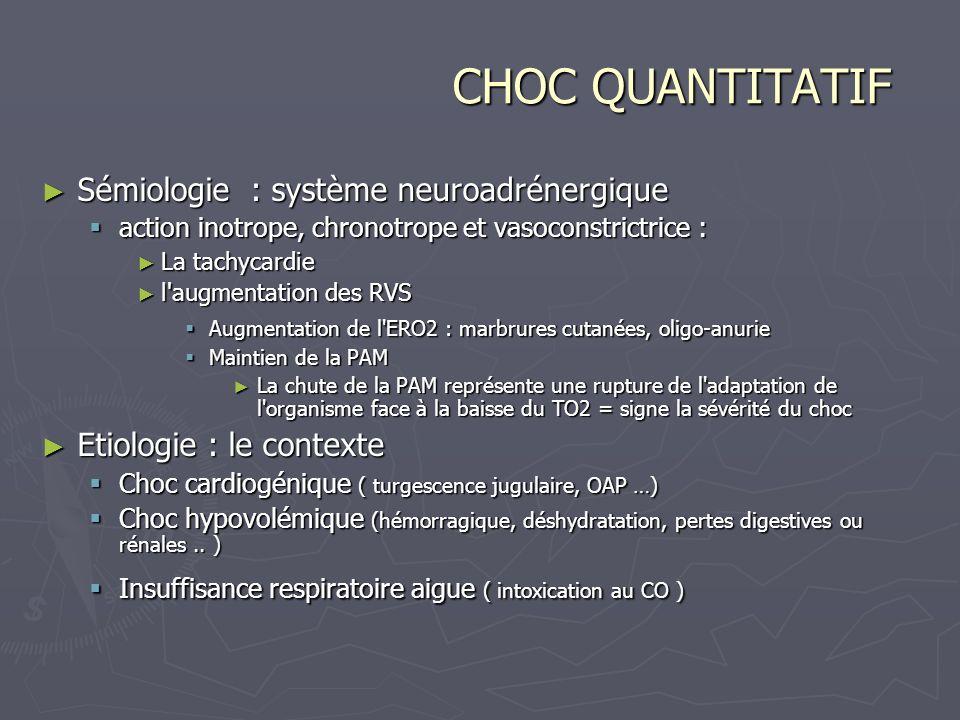 CHOC QUANTITATIF Sémiologie : système neuroadrénergique Sémiologie : système neuroadrénergique action inotrope, chronotrope et vasoconstrictrice : act