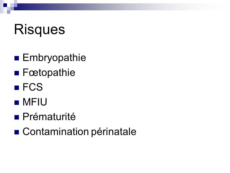 Risques Embryopathie Fœtopathie FCS MFIU Prématurité Contamination périnatale