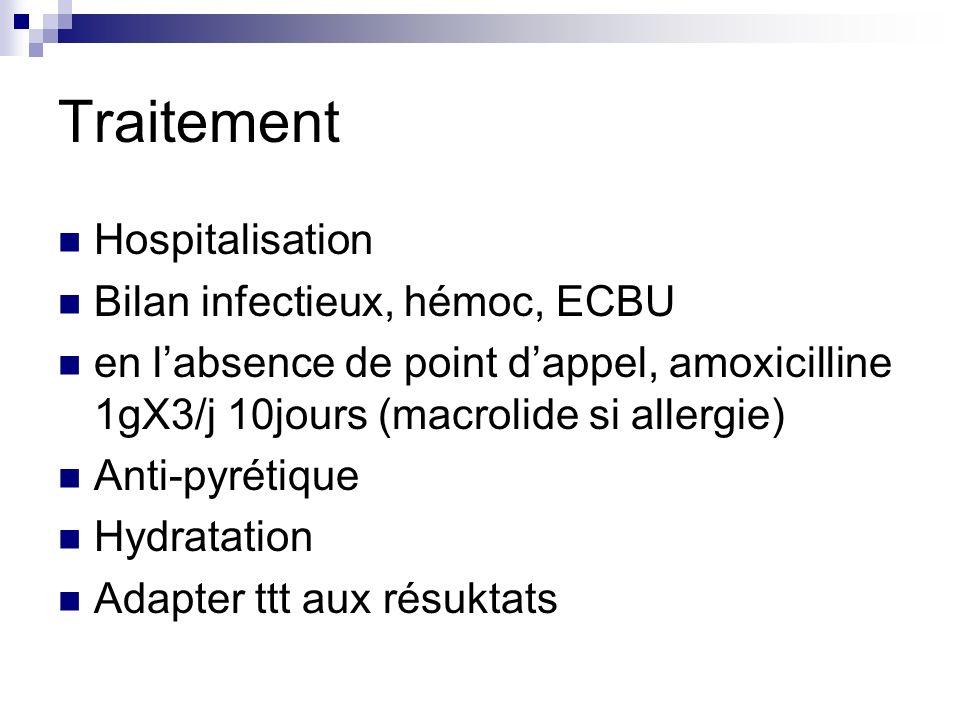 Traitement Hospitalisation Bilan infectieux, hémoc, ECBU en labsence de point dappel, amoxicilline 1gX3/j 10jours (macrolide si allergie) Anti-pyrétiq