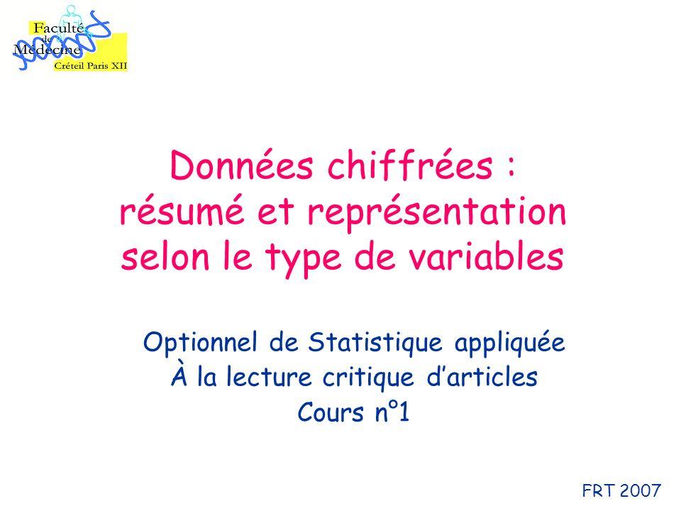 Données chiffrées : résumé et représentation selon le type de variables Optionnel de Statistique appliquée À la lecture critique darticles Cours n°1 FRT 2007