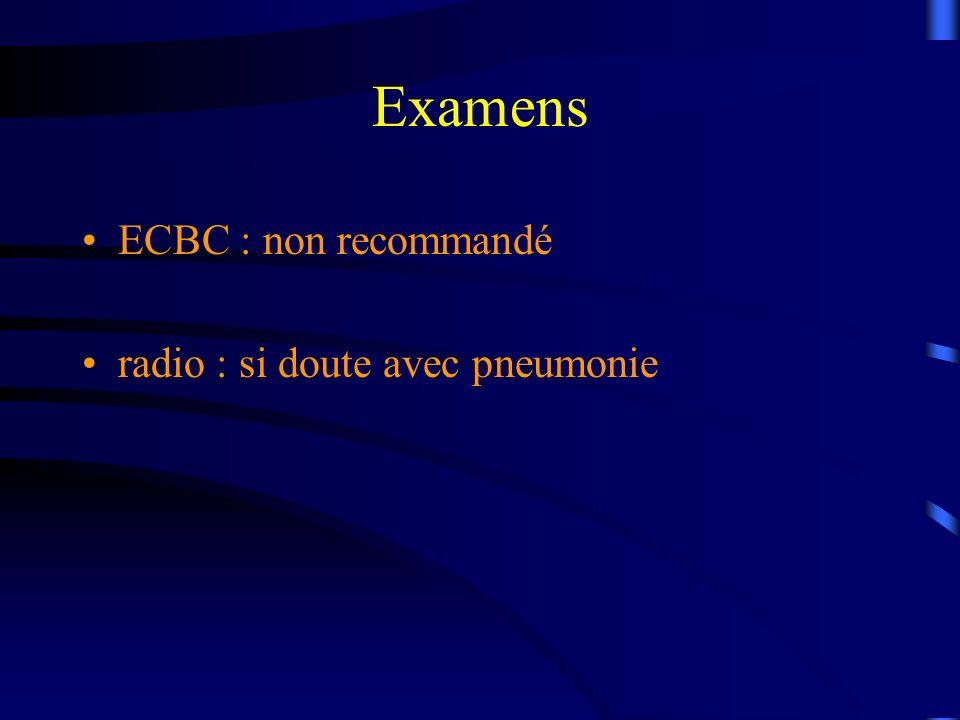 Examens ECBC : non recommandé radio : si doute avec pneumonie