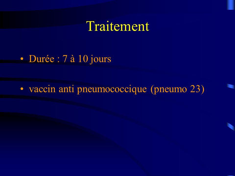 Traitement Durée : 7 à 10 jours vaccin anti pneumococcique (pneumo 23)