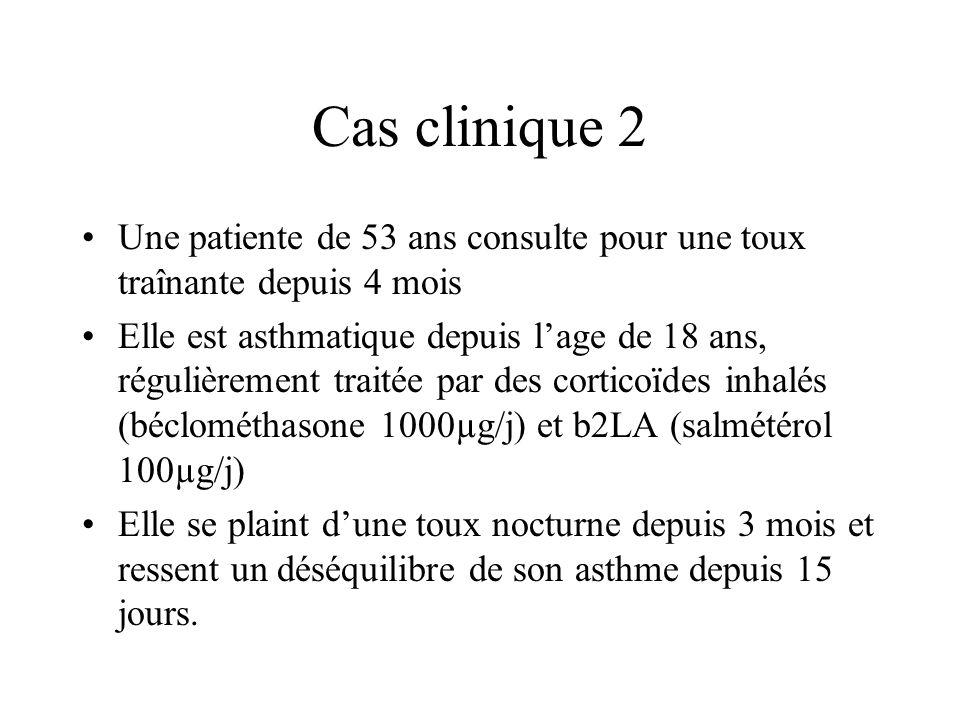 Cas clinique 2 Une patiente de 53 ans consulte pour une toux traînante depuis 4 mois Elle est asthmatique depuis lage de 18 ans, régulièrement traitée