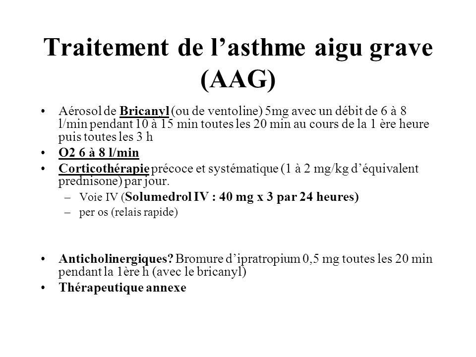 Traitement de lasthme aigu grave (AAG) Aérosol de Bricanyl (ou de ventoline) 5mg avec un débit de 6 à 8 l/min pendant 10 à 15 min toutes les 20 min au