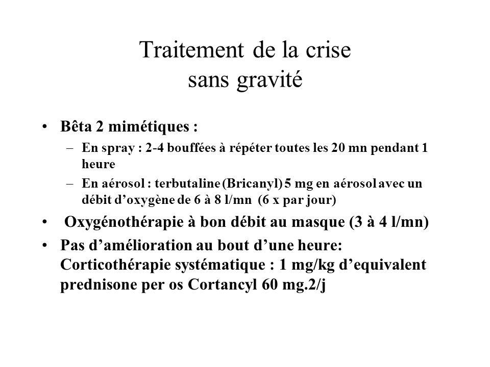 Traitement de la crise sans gravité Bêta 2 mimétiques : –En spray : 2-4 bouffées à répéter toutes les 20 mn pendant 1 heure –En aérosol : terbutaline