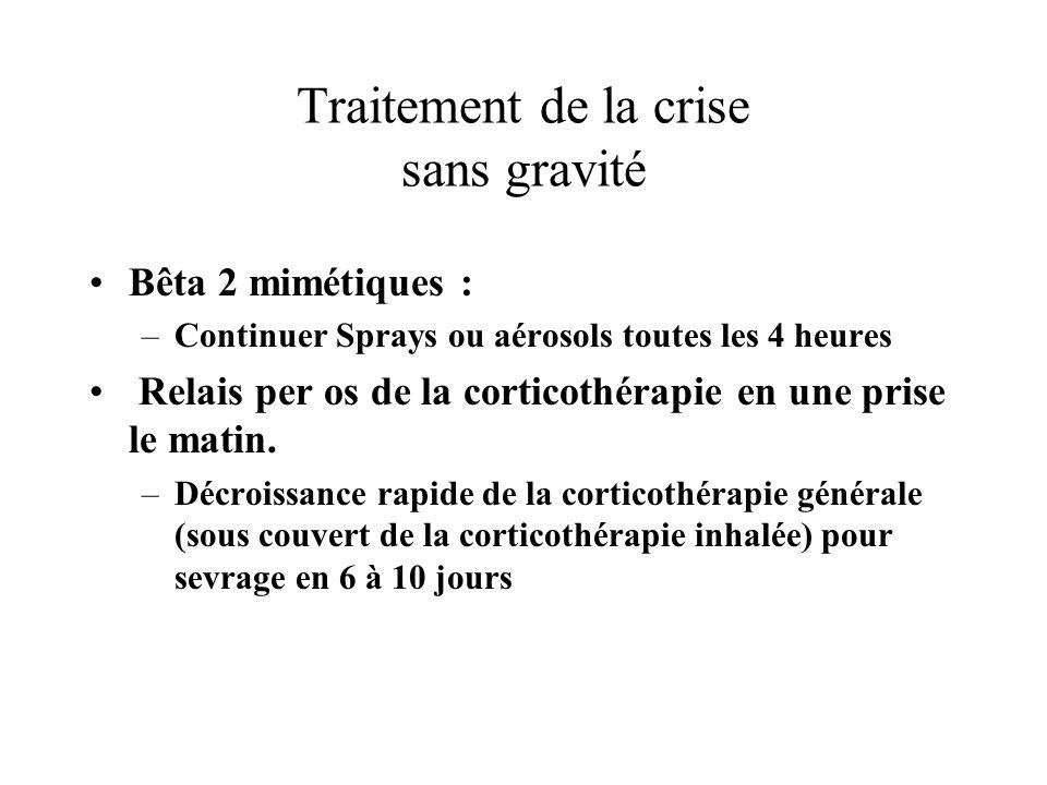 Traitement de la crise sans gravité Bêta 2 mimétiques : –Continuer Sprays ou aérosols toutes les 4 heures Relais per os de la corticothérapie en une p