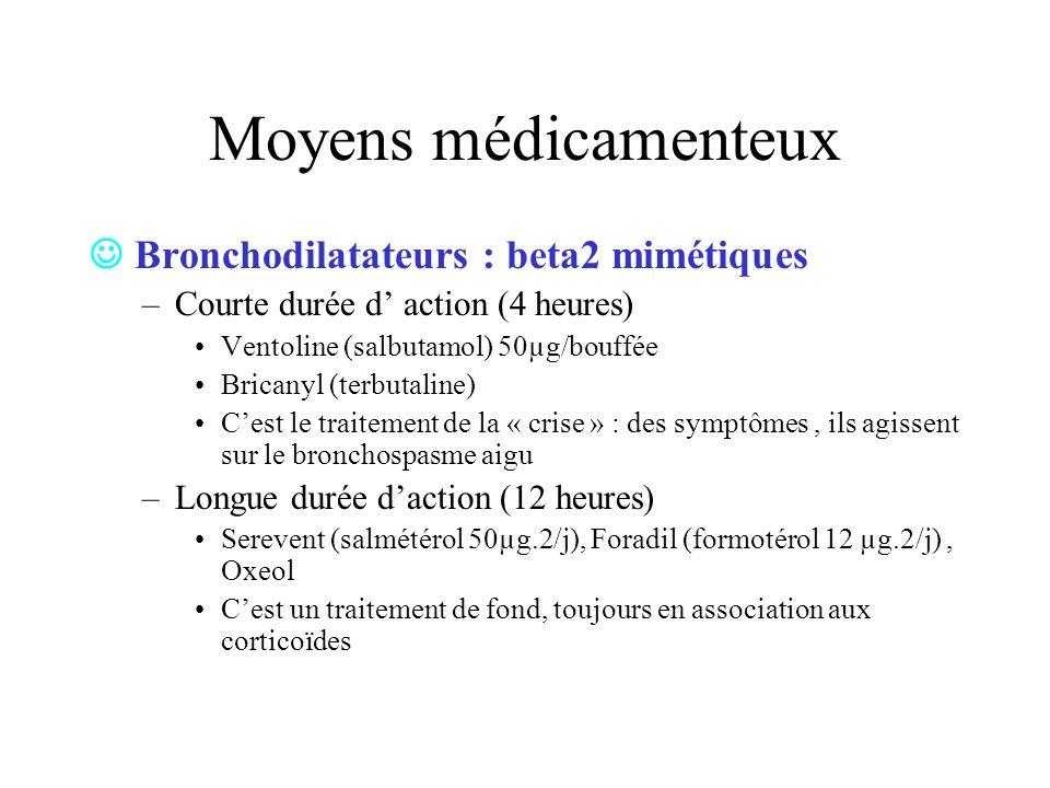 Moyens médicamenteux Bronchodilatateurs : beta2 mimétiques –Courte durée d action (4 heures) Ventoline (salbutamol) 50µg/bouffée Bricanyl (terbutaline