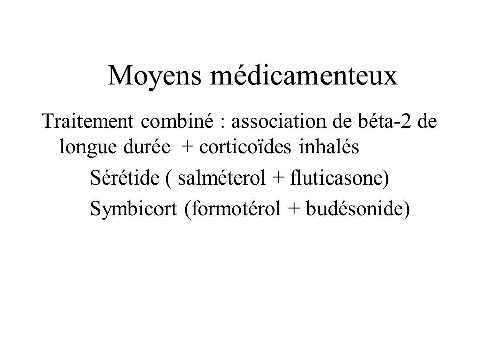 Traitement combiné : association de béta-2 de longue durée + corticoïdes inhalés Sérétide ( salméterol + fluticasone) Symbicort (formotérol + budésoni