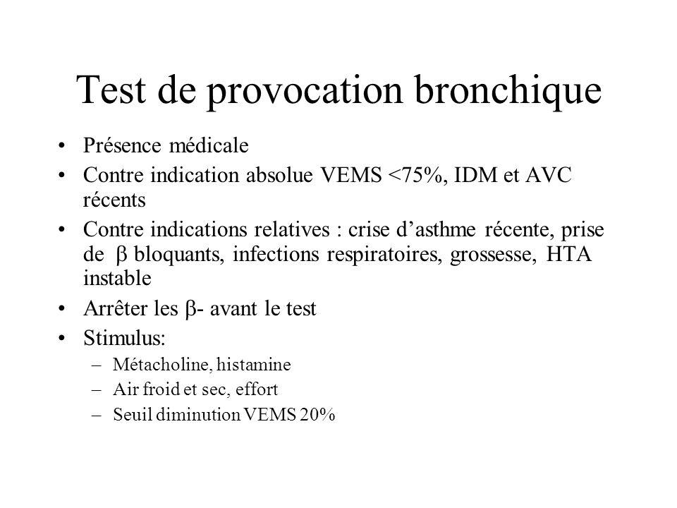 Test de provocation bronchique Présence médicale Contre indication absolue VEMS <75%, IDM et AVC récents Contre indications relatives : crise dasthme