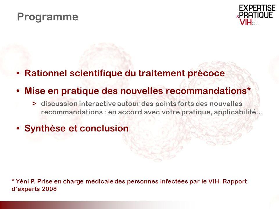 Impact du niveau de CD4 à linitiation du traitement sur la restauration immunitaire (1) Cohorte clinique HIV Johns Hopkins Analyse de la restauration CD4 chez des patients traités par ARV (n=655) et contrôlés virologiquement (CV < 400 copies/ml) pendant 6 ans, stratifiés selon le taux de CD4 initial CD4 > 350 cellules/mm 3 : augmentation significative des CD4 avec retour à des valeurs proches de la normale CD4 : 201–350 and < 200 cellules/mm 3 : augmentation significative des CD4 avec un effet plateau après 4 ans en dessous des valeurs normales Evolution des CD4 médian sur 6 ans, stratification selon la valeur initiale 900 800 700 600 500 400 300 200 100 0 0123456 Années après début dun traitement ARV intensif <200201–350 CD4 (cells/ μ L) >350 Moore RD, Keruly JC.
