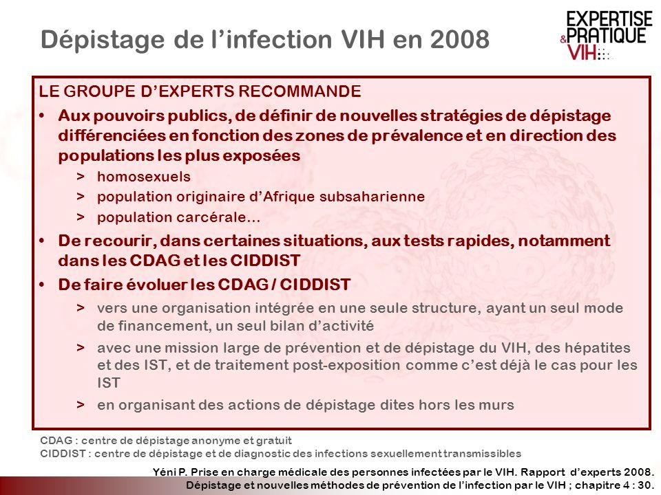 Dépistage de linfection VIH en 2008 LE GROUPE DEXPERTS RECOMMANDE Aux pouvoirs publics, de définir de nouvelles stratégies de dépistage différenciées