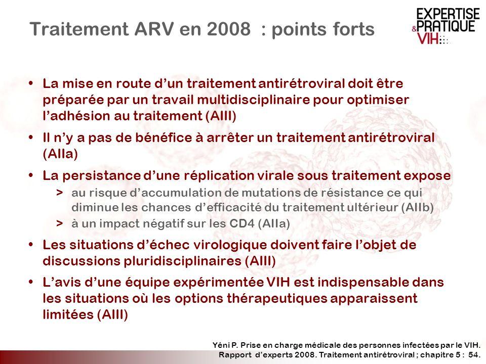 Traitement ARV en 2008 : points forts La mise en route dun traitement antirétroviral doit être préparée par un travail multidisciplinaire pour optimis