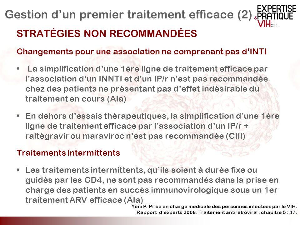 Gestion dun premier traitement efficace (2) STRATÉGIES NON RECOMMANDÉES Changements pour une association ne comprenant pas dINTI La simplification dun