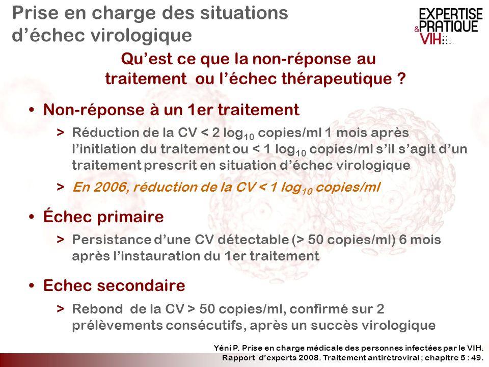 Prise en charge des situations déchec virologique Quest ce que la non-réponse au traitement ou léchec thérapeutique ? Non-réponse à un 1er traitement