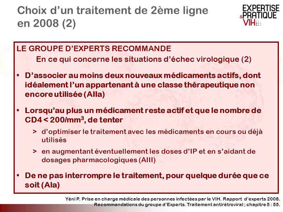 Choix dun traitement de 2ème ligne en 2008 (2) LE GROUPE DEXPERTS RECOMMANDE En ce qui concerne les situations déchec virologique (2) Dassocier au moi