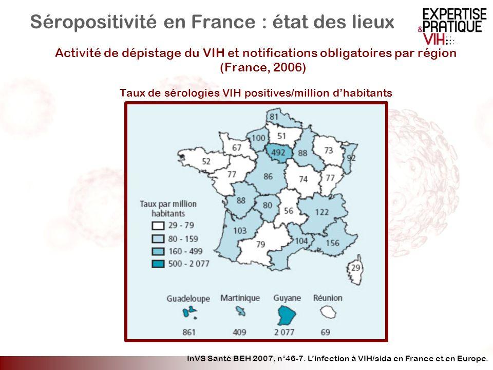 Séropositivité en France : état des lieux Activité de dépistage du VIH et notifications obligatoires par région (France, 2006) Taux de sérologies VIH