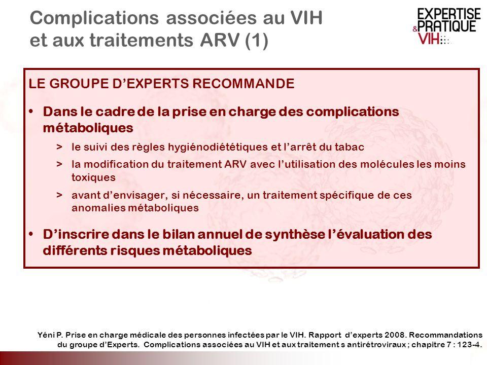 Complications associées au VIH et aux traitements ARV (1) LE GROUPE DEXPERTS RECOMMANDE Dans le cadre de la prise en charge des complications métaboli